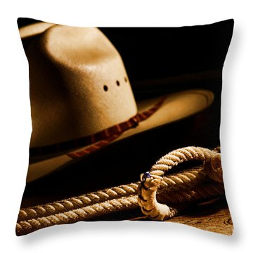 Cowboy Hat And Lasso Throw Pillow by Olivier Le Queinec
