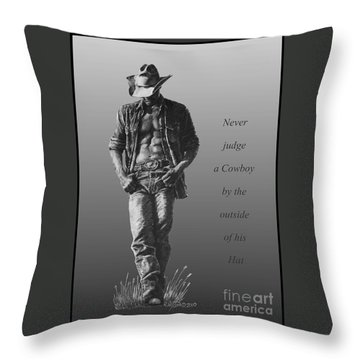 Cowboy Hat Verse Throw Pillow
