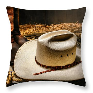 Cowboy Hat On Lasso Throw Pillow by Olivier Le Queinec