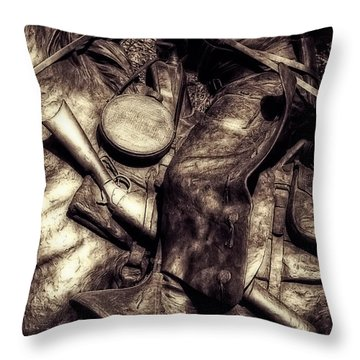 Cowboy In Bronze Throw Pillow