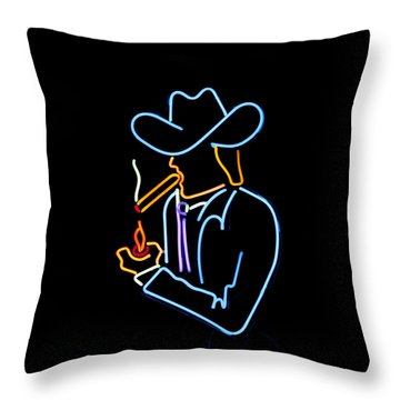 Cowboy In Neon Throw Pillow by Art Block Collections