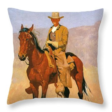 Cowboy Mounted On A Horse Throw Pillow by Frederic Remington