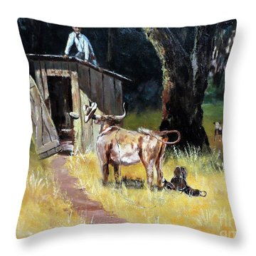 Cowboy On The Outhouse  Throw Pillow