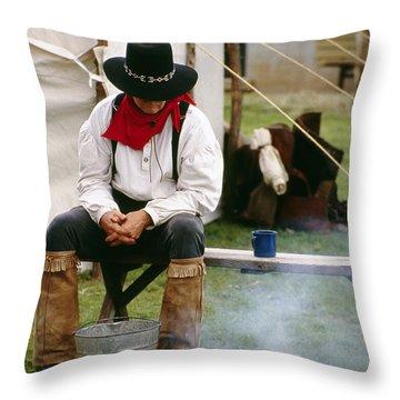 Cowboy Re-enactor Throw Pillow