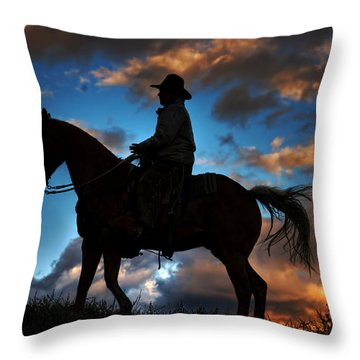 Throw Pillow featuring the photograph Cowboy Silhouette by Ken Smith