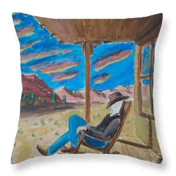 Cowboy Sitting In Chair At Sundown Throw Pillow by John Lyes