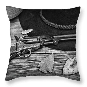 Cowboys And Indians In Black And White Throw Pillow by Paul Ward
