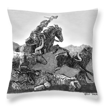Cowboys And Longhorns Throw Pillow by Jack Pumphrey