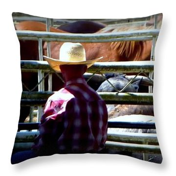 Throw Pillow featuring the photograph Cowboys Corral by Susan Garren