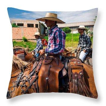 Cowboys In Brazil Throw Pillow