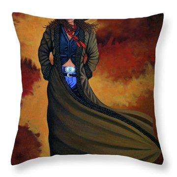 Cowgirl Dust Throw Pillow by Lance Headlee