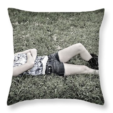 Cowgirl In Clover Throw Pillow by Susan Leggett