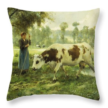 Cows At Pasture  Throw Pillow by Julien Dupre