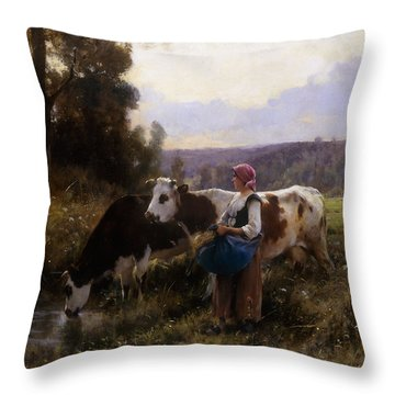 Cows At The Watering Hole Throw Pillow by Julien Dupre