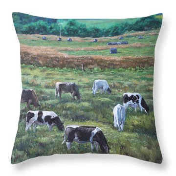 Cows In A Field In The Devon Countryside Throw Pillow