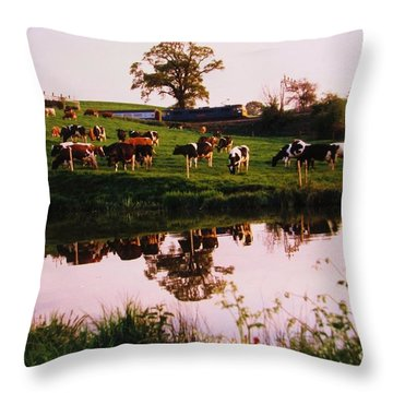 Cows In The Canal Throw Pillow