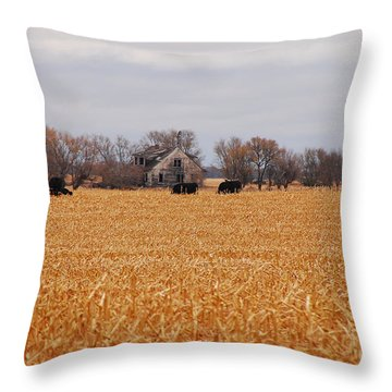 Cows In The Corn Throw Pillow by Mary Carol Story