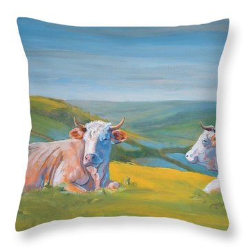 Cows Lying Down Painting Throw Pillow