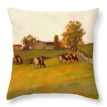 Cows2 Throw Pillow by J Reifsnyder