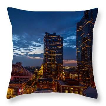 Cowtown At Night Throw Pillow