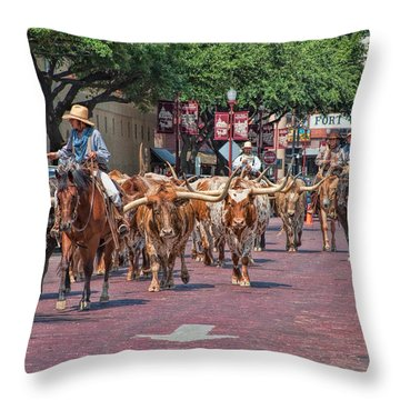 Cowtown Cattle Drive Throw Pillow