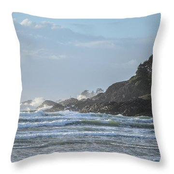 Cox Bay Afternoon Waves Throw Pillow