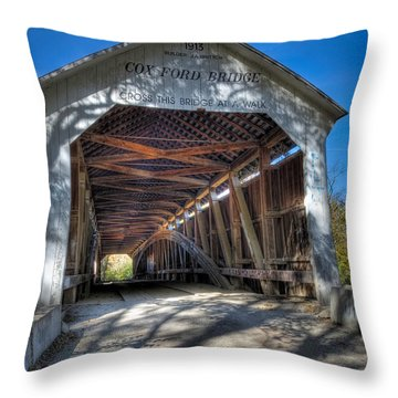 Cox Ford Covered Bridge Throw Pillow by Alan Toepfer