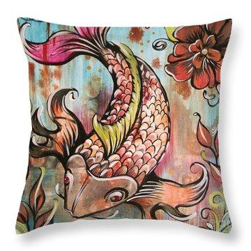 Coy Koi Throw Pillow by Shadia Derbyshire