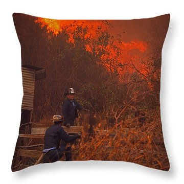 Coyote Fire - 1969 Throw Pillow by J L Woody Wooden