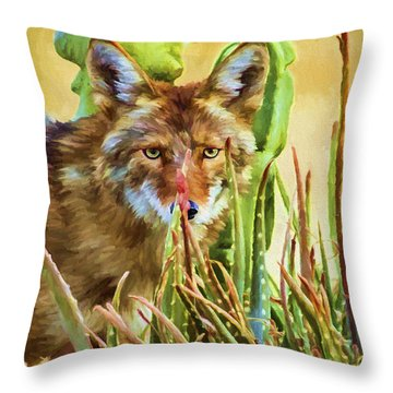 Coyote In The Aloe Throw Pillow