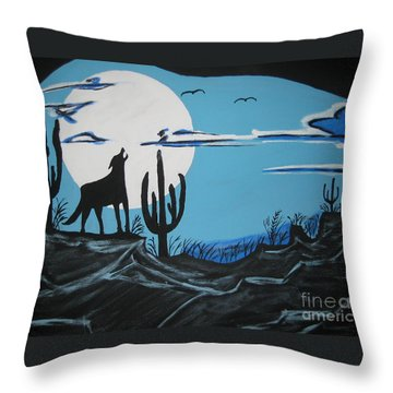 Throw Pillow featuring the painting Coyote by Jeffrey Koss