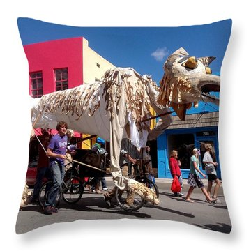 Coyote On Parade Throw Pillow by Feva  Fotos