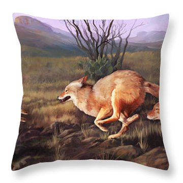 Throw Pillow featuring the painting Coyote Run by Rob Corsetti