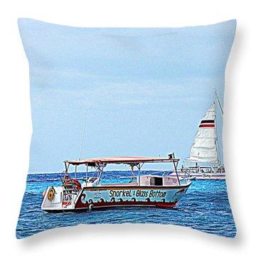 Cozumel Excursion Boats Throw Pillow by Debra Martz