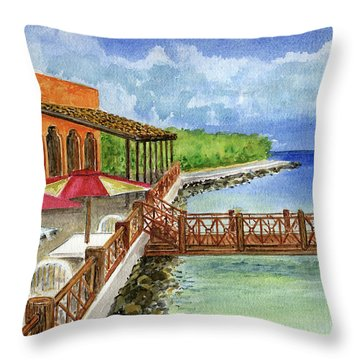 Cozumel Mexico Little Pier Throw Pillow