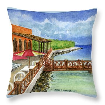 Cozumel Mexico Little Pier Throw Pillow by Frank Hunter