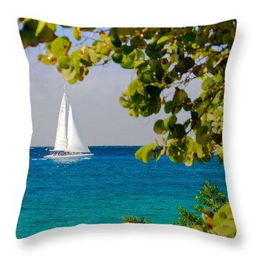 Cozumel Sailboat Throw Pillow