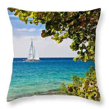 Cozumel Sailboats Throw Pillow
