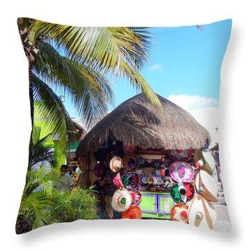 Cozumel Souvernir Shopping Throw Pillow by Debra Martz