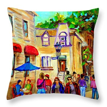 Cozy Dinner Under Blue Umbrella Summer Stroll Prince Arthur Montreal Paintings Carole Spandau Throw Pillow by Carole Spandau