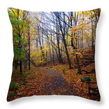 Cozy Fall Corner Throw Pillow