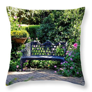 Cozy Southern Garden Bench Throw Pillow by Carol Groenen