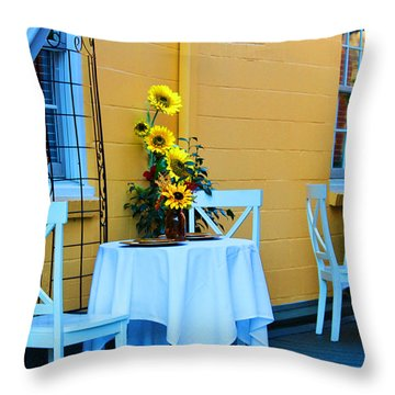 Cozy Table For Two Throw Pillow by Cynthia Guinn