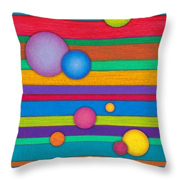 Cp003 Stripes And Circles Throw Pillow by David K Small