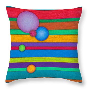 Cp003 Stripes With Circles Throw Pillow by David K Small