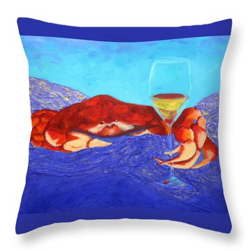 Crab And Chardonnay Throw Pillow by Nancy Jolley