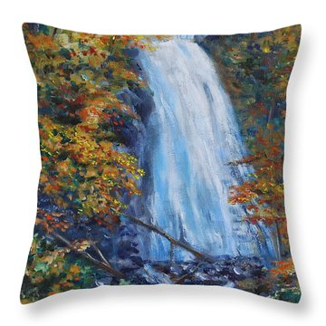 Crab Apple Falls Throw Pillow