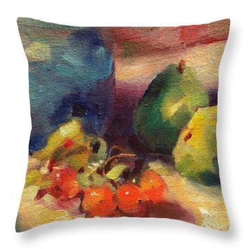 Crab Apples And Pears Throw Pillow by Michelle Abrams