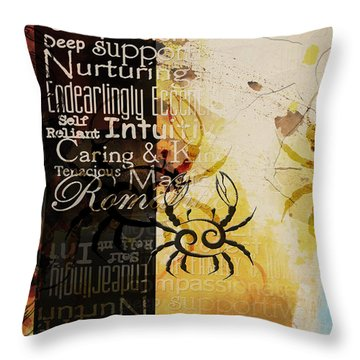 Crab Of The Star Cancer Throw Pillow by Corporate Art Task Force