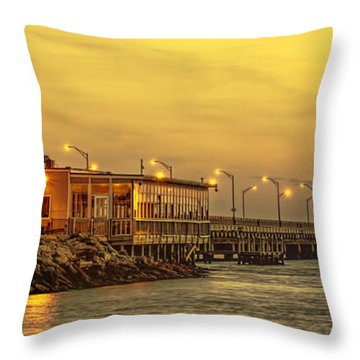 Throw Pillow featuring the photograph Crab Shack On The James In Amber Glow by Ola Allen